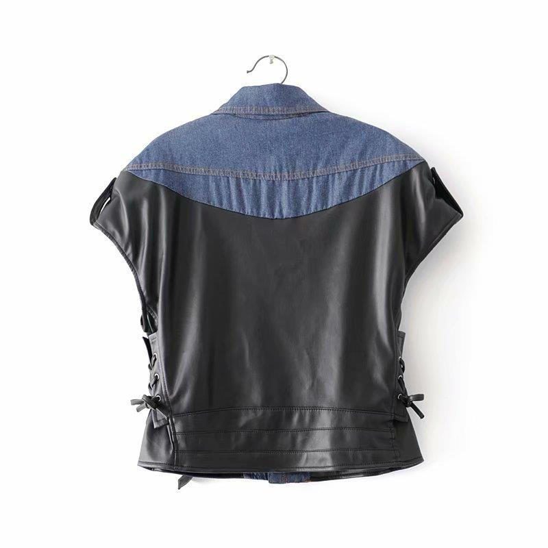 Women's Clothing 2019 New Arrival European & American Style Winter Leather Vest Patchwork Of Pu & Denim Campera De Cuero Free Shipping Sales Of Quality Assurance