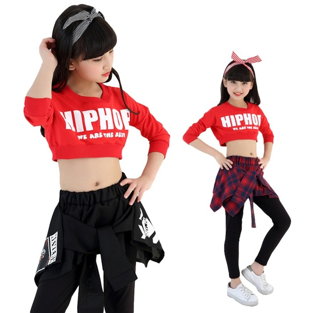 6c0ac5318ecc Kids Girls Hip-hop Clothing Sets Crop Top + Skirt Legging Jazz Dance Wear  Age