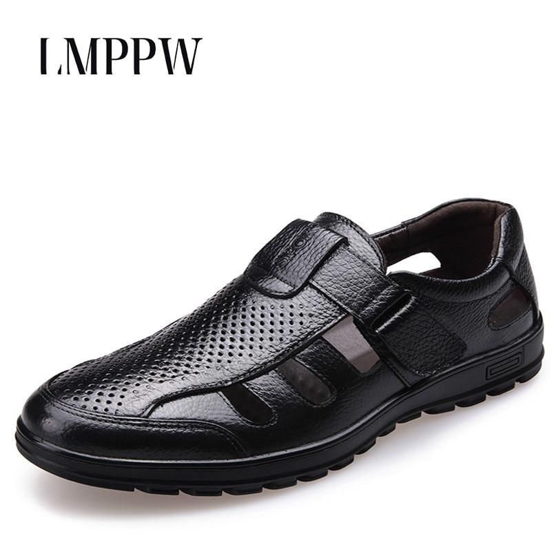 Dos preto Respirável Escavar Marca Brown Luxo Couro De Homens Novos Da 2018 Macio Sandálias Moda Pretos Sapatos Verão Fundo Uw7fq