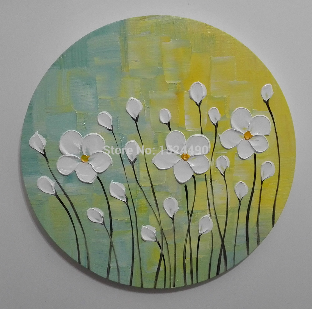 Round painting 3pcsset 100 handpainted white flowers modern knife round painting 3pcsset 100 handpainted white flowers modern knife oil paintings on canvas wall art for living room framed in painting calligraphy from mightylinksfo