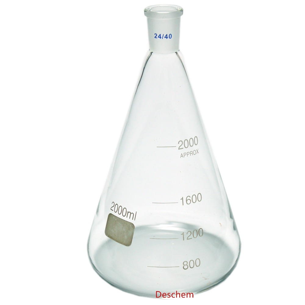 2000ml 24 40 Glass Erlenmeyer Flask 2 Litre Conical Flasks Laboratory Glassware