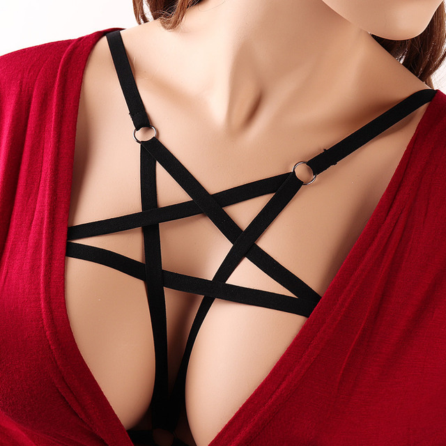 Pentagram Harness Bondage Crop Top body Cage Bra Elastic Body Harness Bra Sexy Dress Lingerie Goth fetish Rave clup body harness