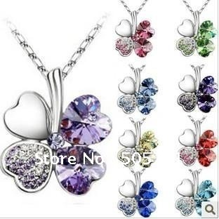 Free Shipping 182 , Wholesale Crystal 4-leaves Clover Pendant Necklace korean jewelry set,9 colors mixed,