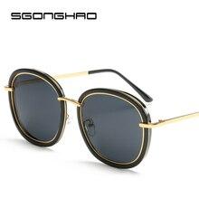 SGONGHAO Polarized Sunglasses Luxury Retro Big Round Metal Frame   Sun glasses Ladies Driving gafas de sol