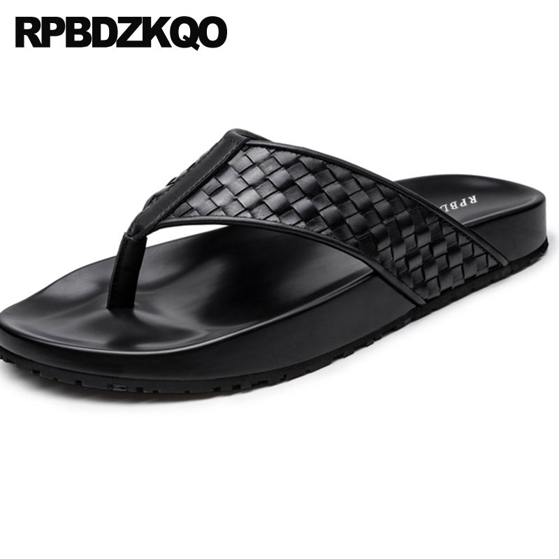 woven genuine leather casual slides luxury designer shoes men high quality beach native flip flop breathable slip on platformwoven genuine leather casual slides luxury designer shoes men high quality beach native flip flop breathable slip on platform