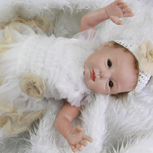 Truly Real Lifelike Newborn Princess Girl Babies 22 Inch 55 CM Realistic Reborn Dolls Handmade Toy With Dress Kids Playmate