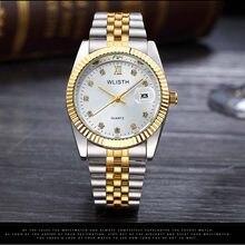 d58aa43d2a0 2018 Cristais WLISTH Data Marca À Prova D  Água Homens Relógio De Aço  Negócio Relógio de Pulso Vestido Presente do Amante Relógi.