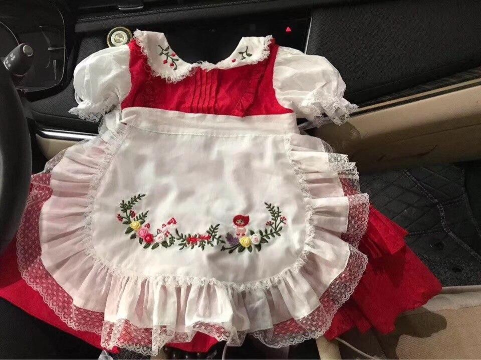 Baby meisjes jurken geborduurde bloemen turn down kleur zomer prinses feestjurken baby kids kleding - 2