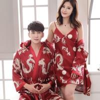 Sexy Couple Lovers Vintage Female Kimono Robe Long Dragon Print Nightgown Novelty Sleepwear V Neck Mujer Pajamas Dressing Gown