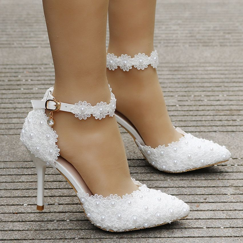 Super high thin 9cm heels white lace wedding shoes bride sexy point toes pearls lace flower