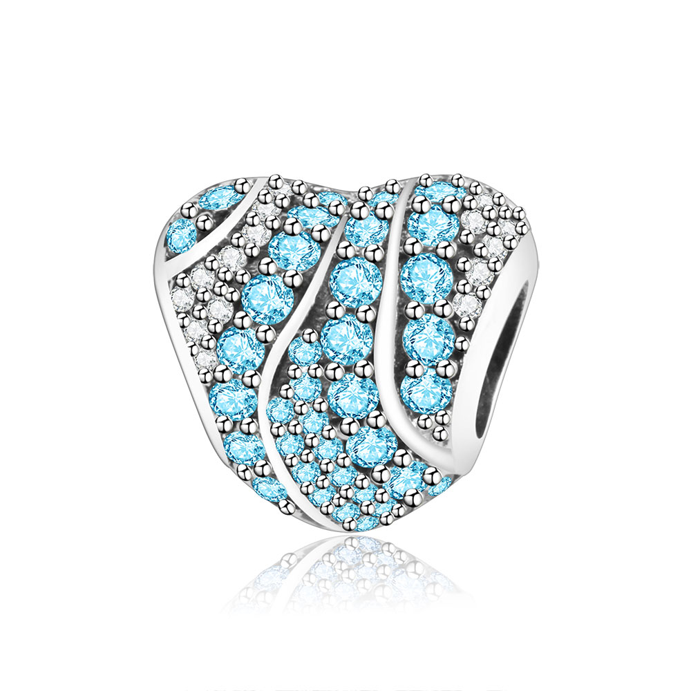 Authentic 925 Sterling Silver Heart Charms Beads With Clear/Blue CZ Fit Original Pandora Charm Bracelet Jewelry DIY Making Gifts