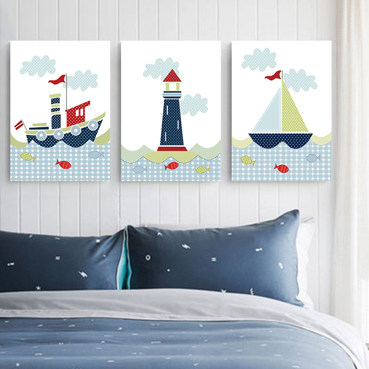 US $6.99  Pittura decorativa della camera da letto moderna camera da letto  per bambini in camera pitture murali di cartoon barca a vela immagine sul  ...