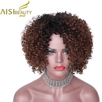 AISI BEAUTY 14Inches Long Afro Kinky Curly Wig For Black Women Dark Brown Synthetic Wigs African