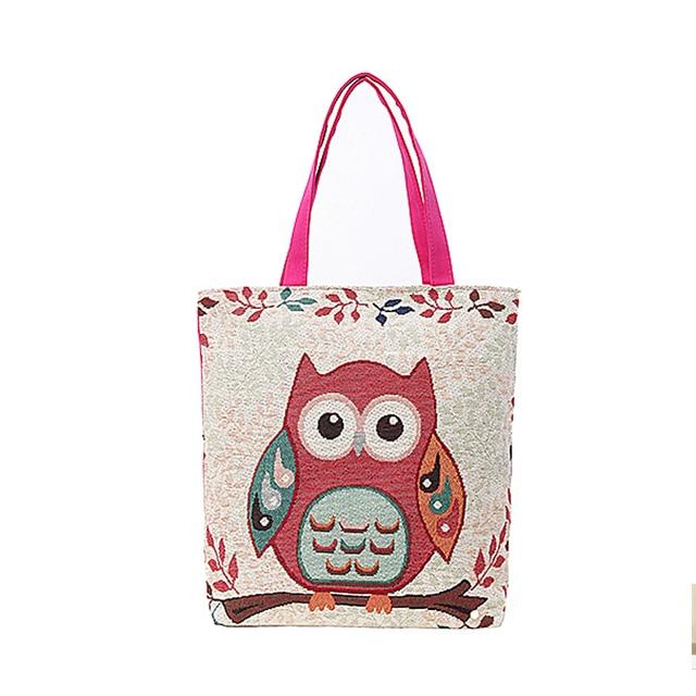 Women Re-use Shopping Bag Women's Canvas Supermarket Handbag Fashion Owl Print Tote Lady Big Totes bag