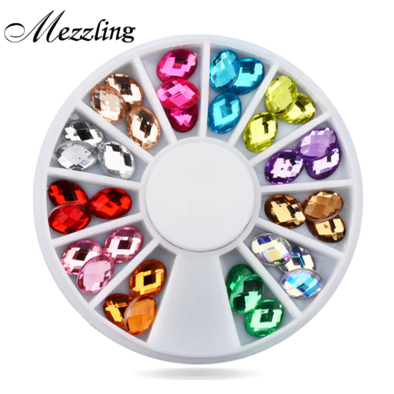 New 3d nail art rhinestone decoration 5x8mm 36pcs set for 3d nail art decoration