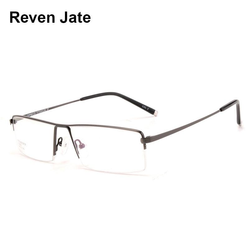 Reven Jate Spectacles Optical Business Titanium Eyeglasses Frame For Men Eyewear Semi Rimless Glasses with 4