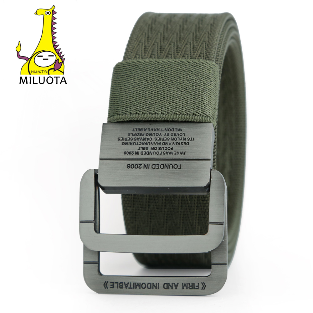 [MILUOTA] Military Equipment Tactical   Belt   Man Double Ring Buckle Thicken Canvas   Belts   for Men Waistband MU035