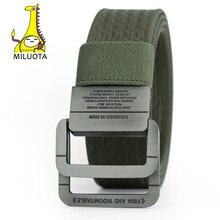 [MILUOTA] Military Equipment Tactical Belt Man Double Ring Buckle Thicken Canvas Belts for Men Waistband MU035