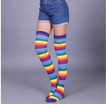 Female Stockings Women Girls Over The Knee Socks Thigh High Rainbow Long Striped Body Tube Socks Woman Socks цена 2017