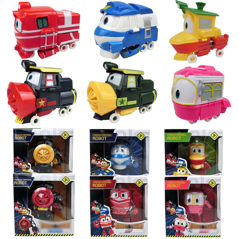 Deformation Robot Trains 12CM Doll Kay Alf Dynamic Train Family Train Car Transformation Action Figure Toy For Kids Boy Gift
