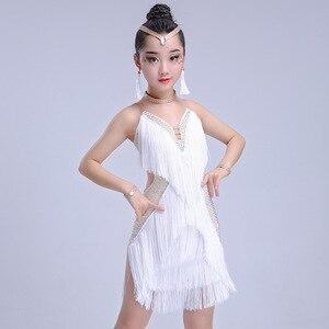 Image 4 - Детская Юбка для латиноамериканских танцев, юбка с бахромой для соревнований по Латиноамериканскому танцу, 2018