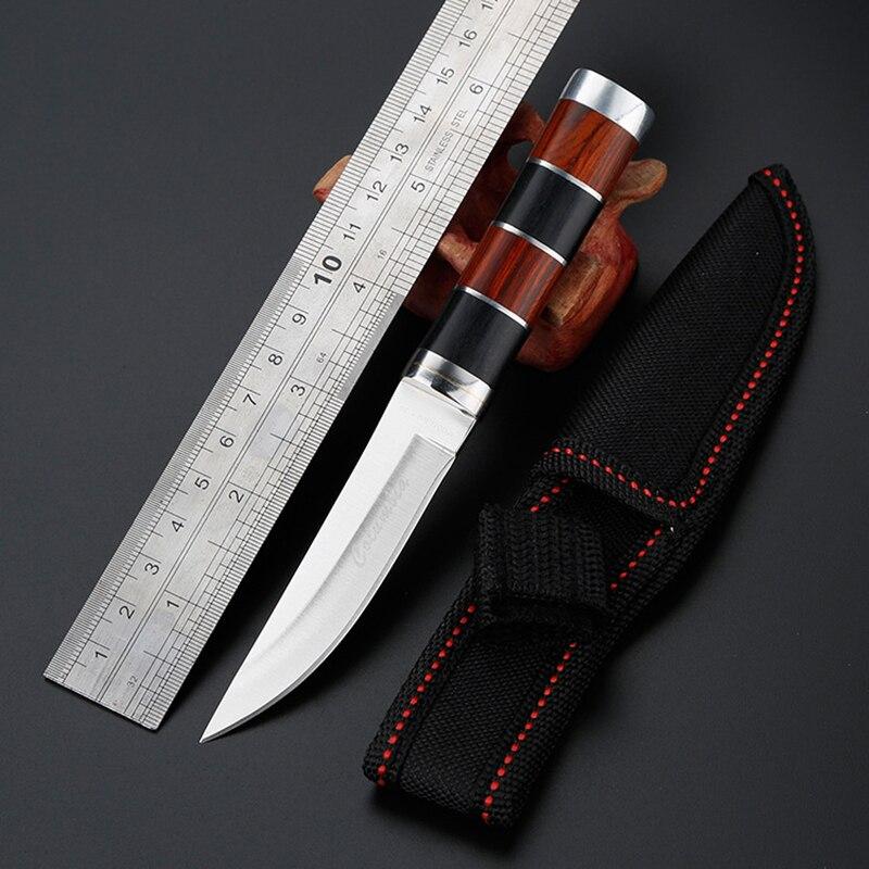 CS コールド 3CR13 52HRC 固定刃ナイフ屋外の戦術的なサバイバルポケットナイフミニステンレス鋼のフルーツナイフ + シース
