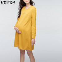 VONDA Одежда для беременных 2019 женское повседневное свободное платье с круглым вырезом и длинным рукавом длиной до колена для беременных Vestidos...