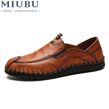 MIUBU Brand Luxury Designer Sneakers Men Genuine Leather Shoes Loafers Flats Moccasins Casual Oxford Male Footwear