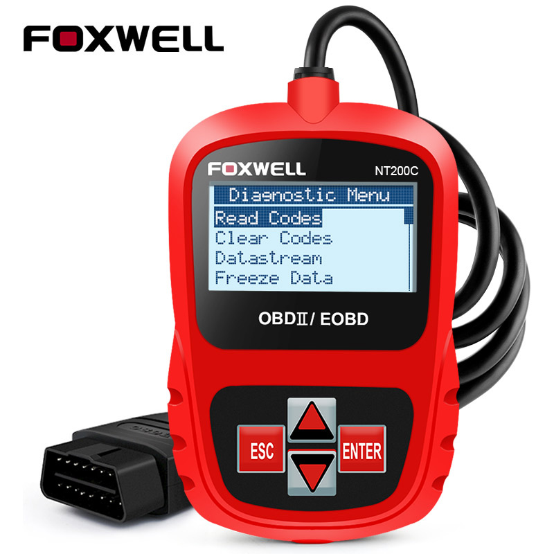FOXWELL NT200C OBD2 Car Auto Diagnostic Scan Tool in Russian OBDII EOBD Engine Check Fault Code Reader obd 2 Scanner Automotive