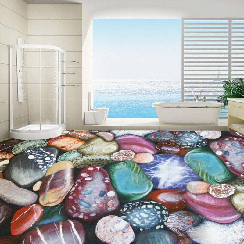 Free shipping Naked eye 3D color pebble floor stickers waterproof thickened flooring mural living room walls bathroom wallpaper free shipping ground cracked canyon square street 3d park floor stickers thickened moisture proof flooring wallpaper mural
