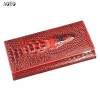 Wristlet Three Fold Wallet Female 3D Crocodile Purse Alligator Coin Purse Women Wallets Lock Split Leather