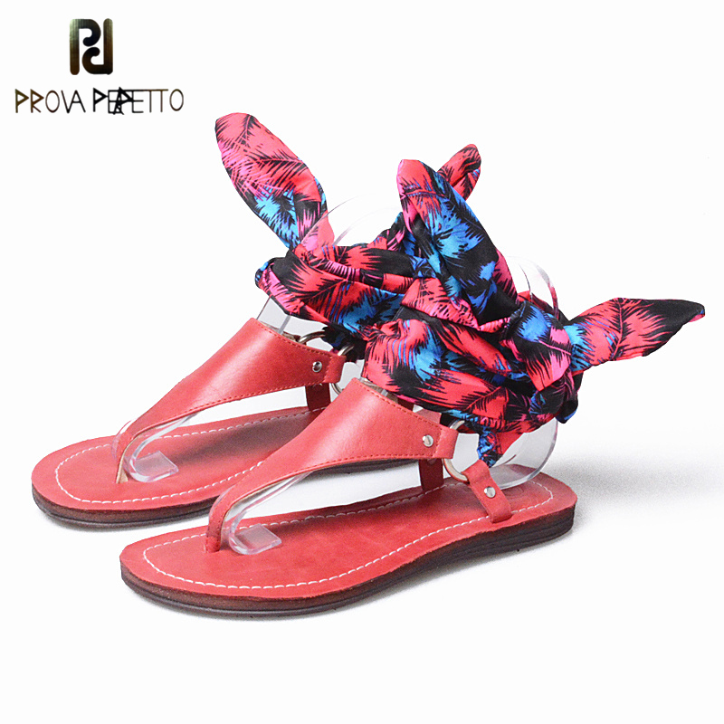 Prova Perfetto Flower Print Slik Ankle Strap Bohemian Women's Sandals Flat Heels Flip Flops Genuine Leather Casual Beach Shoes flower print flat sliders