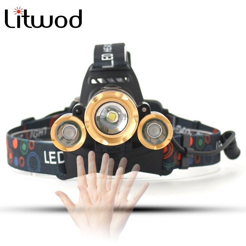 Litwod Z20 сенсор светодиодный налобный фонарь масштабируемый T6 налобный фонарь перезаряжаемый Головной фонарь лоб лампа для рыбалки