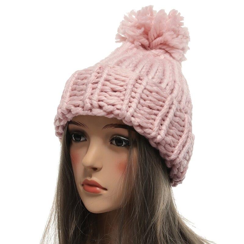 Women hats Knitting Ball   Skullies     Beanies   Casual Warm Hat Women Autumn Winter 2018 Cute Weave Hat Female knit Winter Cap
