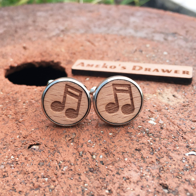 Music Wood Cufflinks Musical Note Wooden Cufflink Musician Suit Tie Groomsmen X 1 Pair