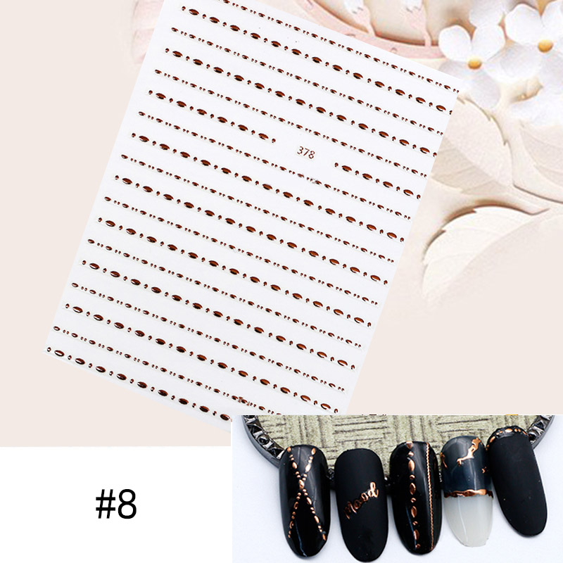 Image 5 - 1 Sheet Star Alphabet Geometry Nail Sticker Rose Gold Feather Water Decal Manicure DIY Decoration Nail Art Transfer Sticker-in Stickers & Decals from Beauty & Health
