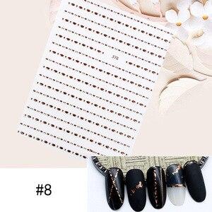 Image 5 - 1 arkusz gwiazda alfabet geometria naklejka do paznokci różowe złote piórka woda naklejka DIY dekoracja naklejka do transferu na paznokcie