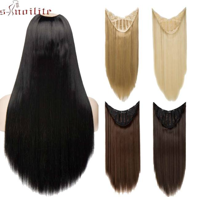 S Noilite 26 Brazilian Straight U Part Wig Hair Extension False