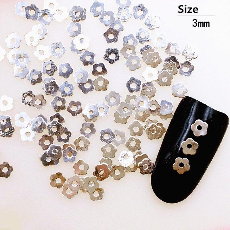 500 шт/партия 3 мм золотые серебряные цветочные заклепки Шпильки металлический сплав для маникюра художественные украшения 3D DIY наклейки для ногтей/амулеты