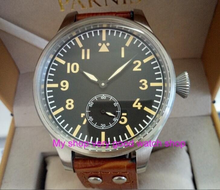 55mm très grand cadran PARNIS asiatique 6498 mécanique main vent mouvement mécanique hommes montres montres mécaniques 307A