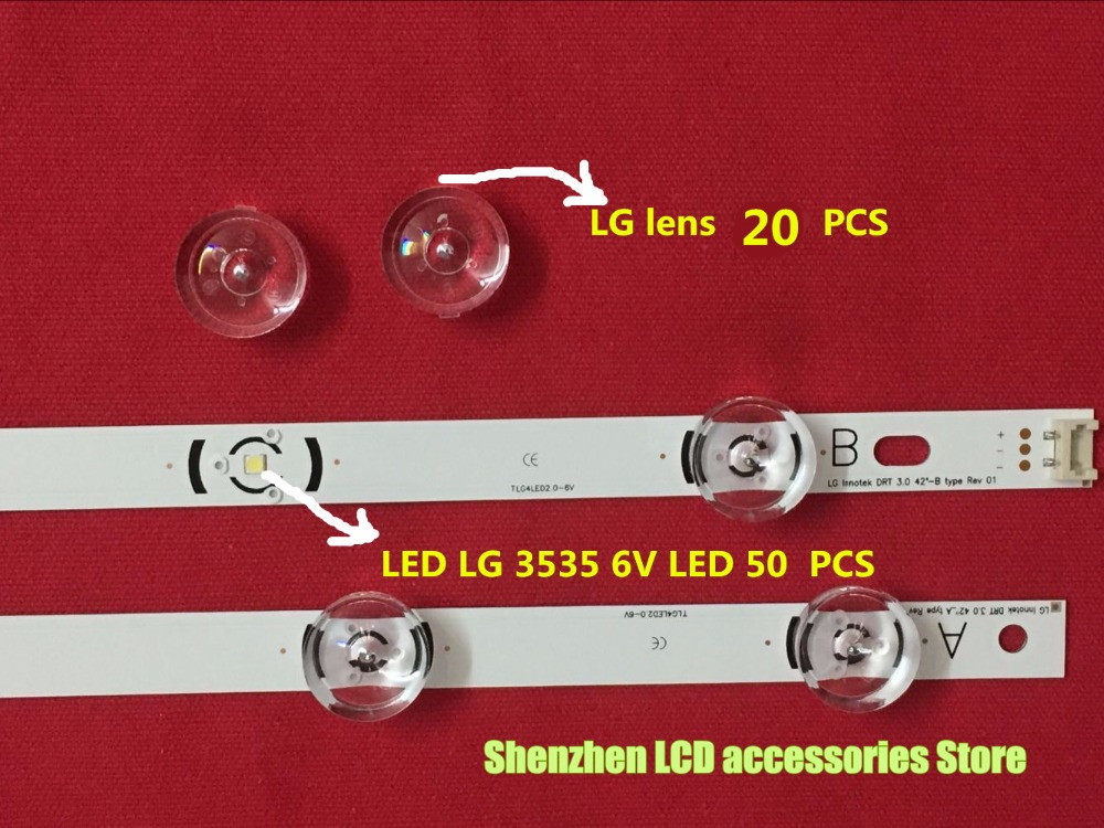 70piece/lot FOR Repair LG TV LED  Lens DRT 3.0 32inch 42inch 47inch 55inch Lamp Cover =20PCS +LED LG 3535 6V 50PCS