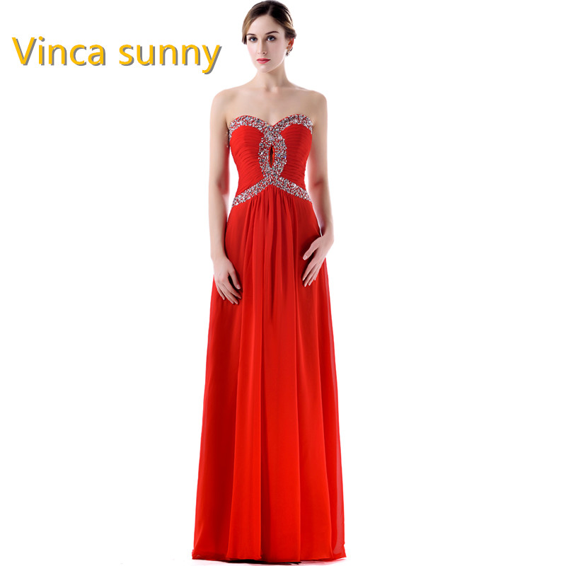 Aliexpress Buy Vinca Sunny New Red Prom Dresses A Line Chiffon