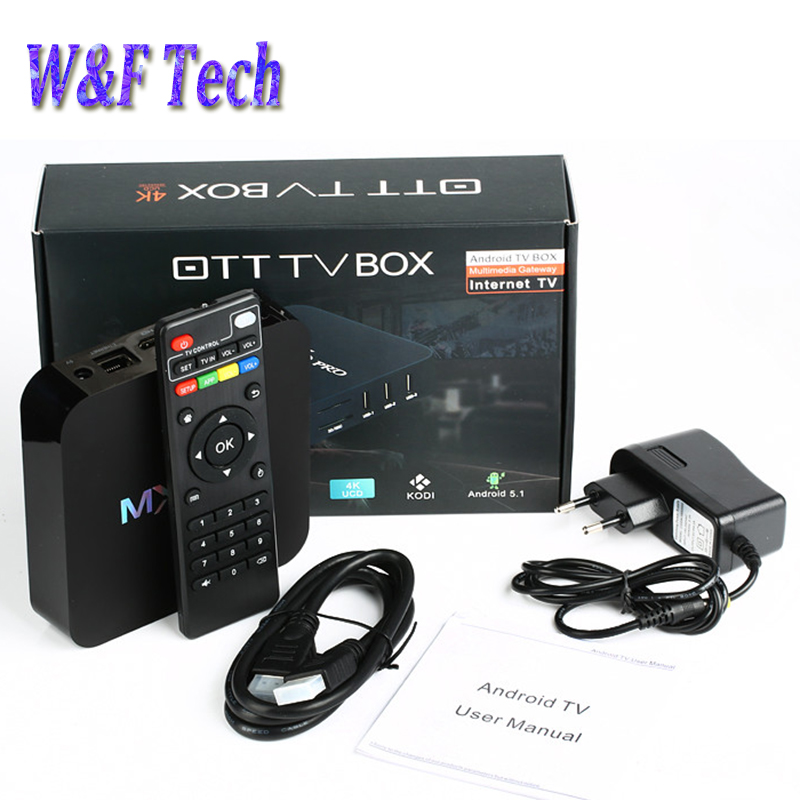 Prix pour 10 pcs MX Pro Android 6.0 TV Box Quad Core Media player 2.4G WiFi 4 K 1 GB 8 GB Amlogic S905X Smart TV Box VS X96 T95X T95N tv boîte