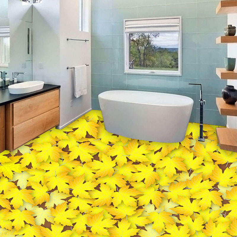 Yellow Leaf Photo Wallpaper 3D Floor Tiles Stickers Mural ...