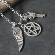 New Supernatural Necklaces Vintage Pentagram Wing Pistol Pendant Necklace Retro Silver Pentacle Choker Collier Women