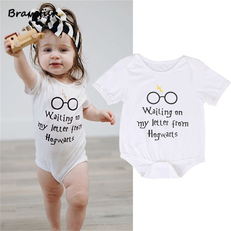 Baby Rompers Short Sleeve Baby Girls Clothing Jumpsuits Children Summer 0-24M Newborn Baby Clothes Cotton Harry Potter Vestidos db7191 dave bella summer baby girls newborn infant toddler jumpsuits children short sleeve printing clothing baby romper