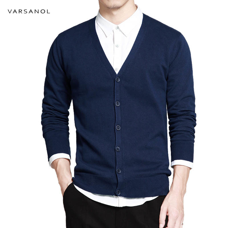 Varsanol Cotton Sweater Men Long Sleeve Cardigan Mens V-Neck Sweaters Loose Solid Button Fit Knitting Casual Style Clothing New(China)
