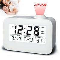 Electronic LCD Projector Alarm Clock Time Temperature Digital Display Desk Table Bedside Clocks Voice Talking Calendar T 3