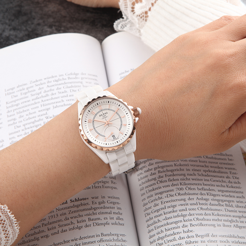 OUPAI Fashion White Ceramic Women Watches Elegant and Casual Waterproof Classic Chan nel Quartz Lady Watch Couple Watches