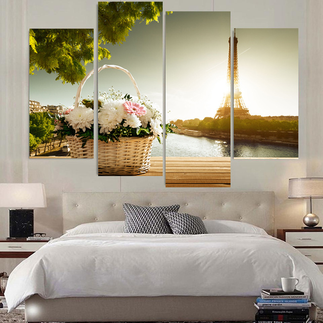 4 Panel Canvas Wall Art Modern Baskets And Eiffel Tower Painting